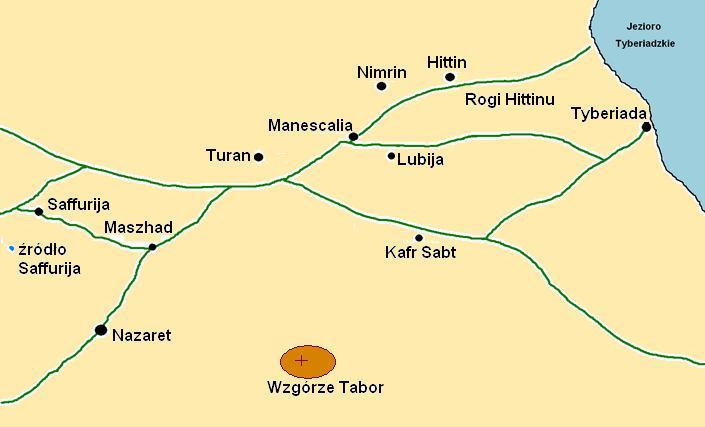 Mapa terenu w okolicach Hittinu
